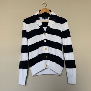 Brooks Brothers | Navy and White Striped Cardigan